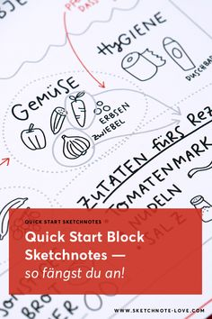 Du wolltest schon immer Sketchnotes lernen und brauchst nur eine Anleitung dazu? Dann bist du mit dem Quick-Start-Sketchnotes Block genau richtig. Er vermittelt das Wissen mit 50 Übungen! Sketch Notes, Doodles, Sketches, Bullet Journal, Homemade, Inspiration, Drink, Food, Dibujo