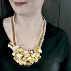 Make a necklace from buttons, felt, and hot glue! So snazzy!