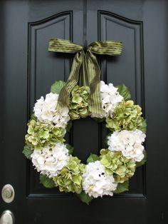 Home and Living, Wreaths, Hydrangea Wreath, Spring Decorations, Spring Wreaths, Etsy Wreaths, Spring Hydrangeas, Spring Home Decor. $105.00, via Etsy.