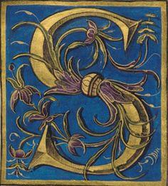 Graffiti Lettering, Hand Lettering, Typography, Medieval Manuscript, Medieval Art, Illuminated Letters, Illuminated Manuscript, Letter S Calligraphy, Letter Ornaments