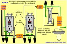 double switch wiring diagram light bedroom electrical receptacle to fixture for the home gfci with protected and