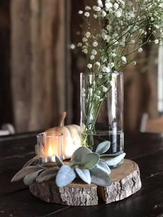 Wood slice with greenery candle baby's breath small pumpkin( Girl Friday Spirits and Elixirs)