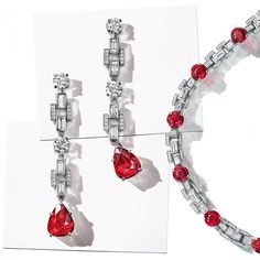 Extraordinary Tiffany: Modern Classics earrings and necklace with pear-shaped and round rubies with diamonds Ruby Jewelry, Ruby Earrings, Tiffany Jewelry, High Jewelry, Gemstone Earrings, Luxury Jewelry, Jewelery, Jewelry Design Drawing, Gold Bridesmaids