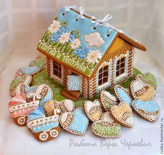 """Купить Большой пряничный домик """"Травы луговые"""" - пряник, расписные пряники, имбирное печенье"""