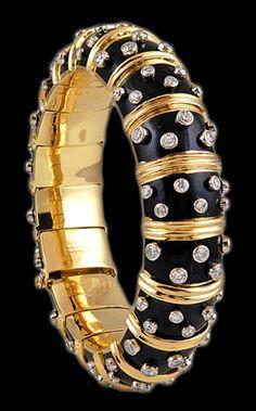 TIFFANY & Co. Gold Diamond Schlumberger Black Enamel Bangle - Yafa Jewelry