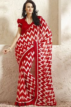 Traditional Printed Party Saree; Venetian Red and Off-white Faux Georgette Printed Casual and Party Saree $28