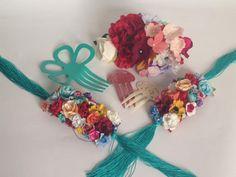 #Flamenca #Hombreras #Flores #Peinas #Celeste #Burdeos #Diadema #Mujer #Complementos