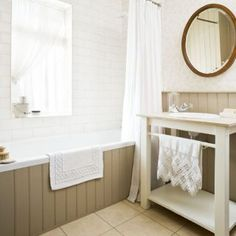 Traditional Tongue And Groove 25 Beautiful Homes Bathroom Traditional Tongue And Groove 25 Beautiful Homes Trim around the bathtub for the master bath From Boring to Stunning: Simple Ways to Transform your Bathroom Space 1930s Bathroom, Chic Bathrooms, Downstairs Bathroom, Small Bathroom, Cream Bathroom, Beige Bathroom, Bathroom Closet, Boho Bathroom, Bathroom Vanities