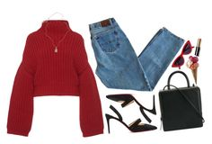 A fashion look from February 2018 featuring turtleneck top, relaxed fit jeans and pointy-toe pumps. Browse and shop related looks. Casual Summer Outfits, Simple Outfits, Cute Outfits, Black Knee High Boots Outfit, Virtual Fashion, Cold Weather Outfits, Parisian Style, Polyvore Outfits, Fashion Outfits