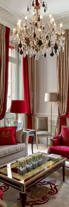Discover the best luxury living room inspiration for your next interior design project! Find more at www. - Luxury Living For You Living Room Decor Colors, Living Room Red, Living Room Interior, Living Room Designs, Curtain Ideas For Living Room, Red Curtains Living Room, Luxury Home Decor, Luxury Interior, Decor Interior Design