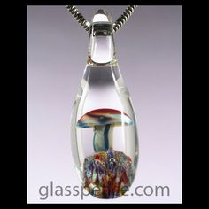 Mushroom Pendant - Boro Lampwork Bead Glass Shroom Penddant by Glass Peace $10.95