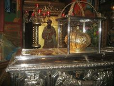 The holy relics of St. Gregory Palamas at the Metropolitan Orthodox Temple named after him, Thessaloniki, Greece.