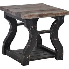 Kosas Home Satur Distressed Black/ Natural End Table ($286) ❤ liked on Polyvore featuring home, furniture, tables, accent tables, side tables, black, wood end tables, wooden accent table, black wood side table and square side table