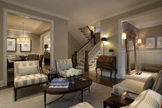 Seeley Living Room A - traditional - Living Room - Chicago - Michael Abrams Limited Shaker Beige walls-BM Mayonnaise ceiling Living Room Sofa, Home Living Room, Living Room Designs, Living Room Decor, Living Spaces, Dining Room, Living Area, Small Living, Barn Living