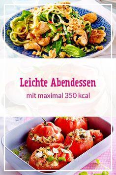 Feine Suppen, frische Salate und kalorienarme Gerichte aus Pfanne und Ofen – so ein leichtes Abendessen ist richtig lecker und der perfekte Start in einen entspannten Feierabend. Mit maximal 350 kcal unterstützt dich ein leichtes Abendessen dabei, dein Wohlfühlgewicht zu erreichen. #abendessen #leichteküche #leichterezepte #kalorienarm #kalorienarmerezepte #diät #abnehmen #rezeptezumabnehmen #kochen #lecker #suppen #salate #pfannengerichte #leichteabendessen #rezepte Healthy Protein, Healthy Smoothies, Healthy Snacks, Slow Cooker Recipes, Diet Recipes, Healthy Recipes, Le Diner, Salmon Recipes, Summer Recipes