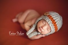 Hand Knit Newborn Little Boy Button Earflap Hat