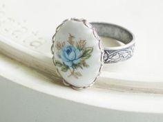 Blue Rose Vintage Cameo Ring