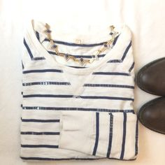 J.Crew striped sparkled top Gorgeous striped shirt by J.Crew!!! Has a great nautical feel to it. Very classic. This is a piece that will last a long time in your closet. In great shape except for some slight marks on sleeve cuffs. Not too noticeable when on. See pic. J. Crew Tops Tees - Long Sleeve