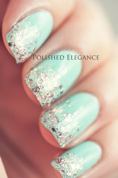 Mint green nails with a touch of sparkle. #nailart #nails #polish