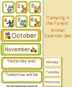 Forest Animals Camping Themed Calendar Set by Classroom Compulsion