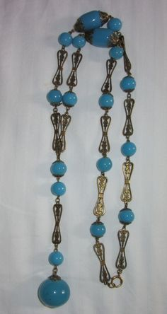 Flapper Turquoise Glass Beads Sautoir from phalan on Ruby Lane