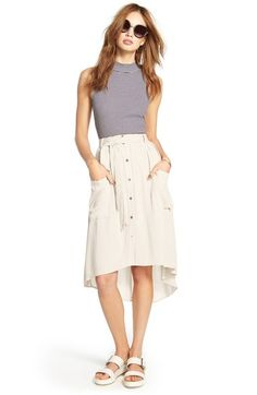 Free shipping and returns on Lush Button Front Linen Blend Midi Skirt at Nordstrom.com. A coordinating waist tie perfects the fit of a breezy button-front midi skirt styled with slouchy pockets and a rippling high/low silhouette.