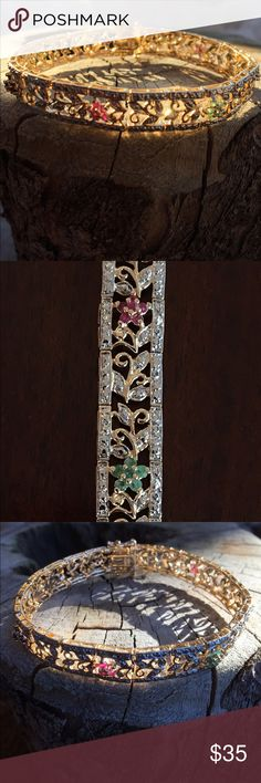 """Sterling silver gold plated gemstone bracelet Beautiful ornate sterling silver gold plated bracelet with ruby, emerald and sapphire flower designs / 7.25"""" long / Hallmarked .925 Sterling Silver  Jewelry Bracelets"""