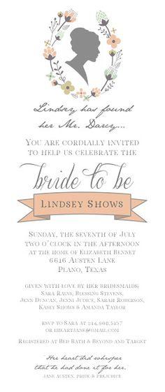 jane austen bridal shower invite from emma kate designs. {vintage, jane austen, pride & prejudice, printable}