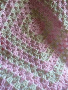 crochet granny square blanket candy pink and vanilla by TWINKKNITS, £20.00