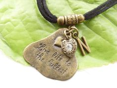Stamped personalised charm necklace Live life to the fullest £12.00