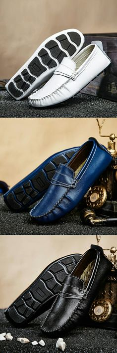 US $24.98 <Click to buy> Prelesty Big Size 38-47 Classical Handmade Loafer Leather Men Casual Shoes Breathable Soft Moccasins Driving Gommino Chaussure