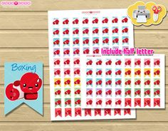 Sports Boxing Printable Planner Stickers for Erin Condren, Happy planner printable, Sports Icon, Sports stickers, kawaii stickers