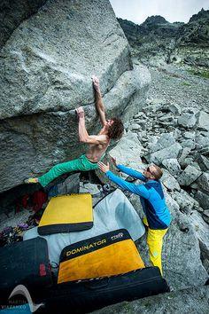 "Adam Ondra climbing ""Krkavec"" 8b - the hardest boulder in Slovakia with Ocún Dominator crash pad. Photo by Martin Viazanko"