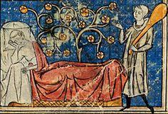 Un buisson de roses  Roman de la rose Guillaume de Lorris et jean Meun, fin du XIIIe s.  BNF MSS, français 378, f.13  Un buisson de roses semble naître du lit où l'amant-clerc rêve, à demi endormi ; mais Danger, avec sa massue, veille. Cette miniature, qui introduit les plus anciens manuscrits, s'inspire de l'arbre de Jessé. On peut l'interpréter ainsi : contrairement au propos de Jean de Meun, la procréation n'est pas libre, mais reste soumise aux interdits, particulièrement ceux de…
