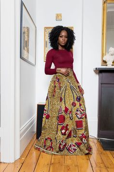 African maxi skirts are our favourite! Does anything look more timelessly beautiful than African print fabric on a long flowing skirt? Shop the Grass-fields range here. African Fashion Designers, African Inspired Fashion, African Men Fashion, Africa Fashion, African Fashion Dresses, Fashion Outfits, Fashion Trends, Fashion Ideas, Fashion Styles