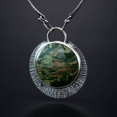 Morrison Ranch Jasper Centerpiece. Fabricated Sterling Silver and 14k Gold. www.amybuettner.com https://www.facebook.com/pages/Metalsmiths-Amy-Buettner-Tucker-Glasow/101876779907812?ref=hl https://www.etsy.com/people/amybuettner http://instagram.com/amybuettnertuckerglasow