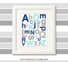 Aqua,grey and navy alphabet nursery art print - 8x10 - Elephant, Children wall art, Baby Room Decor, nursery art -  UNFRAMED by SednaPrints on Etsy https://www.etsy.com/listing/160565046/aquagrey-and-navy-alphabet-nursery-art