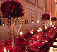 Regal & Royal - gold candelabra, red roses