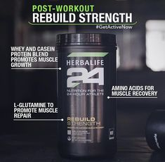 Rebuild Strength delivers protein as amino acids and carbohydrates to spike insulin levels, allowing the amino acids to enter the muscle for optimal recovery. Herbalife 24, Herbalife Distributor, Herbalife Nutrition, Herbalife Products, Herbalife Recipes, Herbalife Motivation, Promotion, Casein Protein, Protein Blend