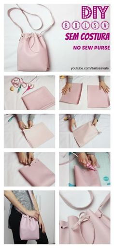 DIY Bucked Bag Bolsa Saco Sem Costura No Sew Como Fazer How To