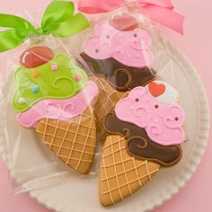 Ice Cream Cookies 12 decorated favors bagged & bowed by TSCookies, $36.00