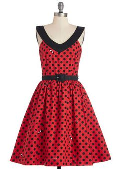 Who's That Lovely Ladybug? Dress. What cute critter inspired the polka-dot print of this fit-and-flare dress by Bea  Dot? #red #modcloth
