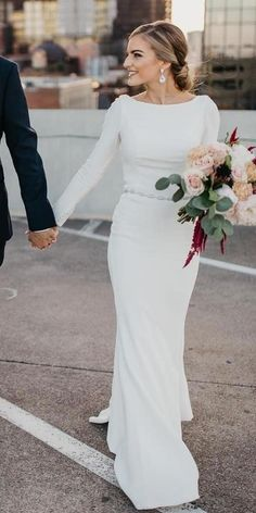 Awesome Simple Wedding Dresses For Cute Brides ★ simple wedding dresses sheath. Awesome Simple Wedding Dresses For Cute Brides ★ simple wedding dresses sheath with long sleeves clons meghan markle martina liana Simple Wedding Gowns, Long Sleeve Wedding, Modest Wedding Dresses, Designer Wedding Dresses, Simple Dresses, Wedding Bride, Dresses With Sleeves, Wedding Dress Sheath, Winter Wedding Dresses