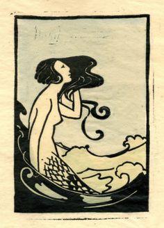 Marjorie Wood  woodcut mermaid vintage mermaid illustration Pinterest: Vintage Mermaid Illustrations