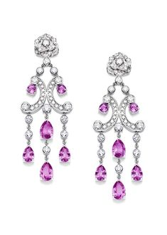 Piaget Rose Passion earrings in white gold, with diamonds and pink sapphires.
