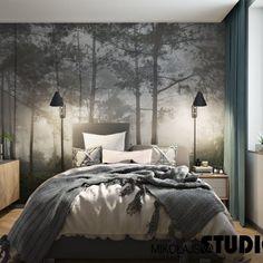 Blisko natury - close to the nature Tree Wallpaper Bedroom, Tree Bedroom, Forest Bedroom, Home Wallpaper, Master Bedroom, Forest Theme Bedrooms, Nature Wallpaper, Cheap Bedroom Decor, Bedroom Themes