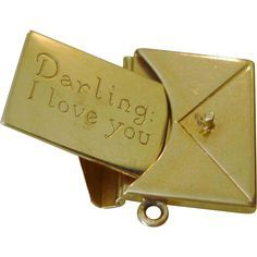 """14k Gold Vintage Love Letter Charm """"Darling I Love You"""" c. 1930's.."""