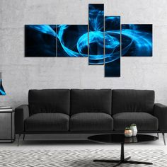 Designart 'Fractal 3D Circled Waves' Abstract Canvas Art Print