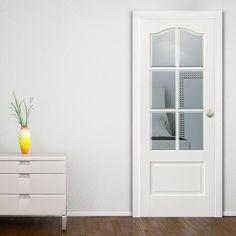 KENT 6 PANE WHITE DOOR WITH BEVELLED CLEAR SAFETY GLASS #whiteglazeddoor #directdoors #doorsforyou