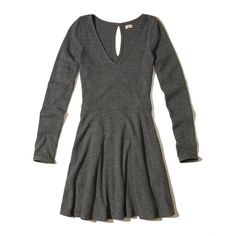 Hollister Long-Sleeve Ribbed Skater Dress ($40) via Polyvore featuring dresses, dark grey, hollister co dresses, longsleeve dress, key hole dress, long sleeve dress and dark gray dress